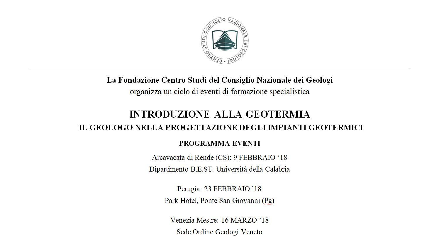 Programma eventi 2018 il geologo nella progettazione for Programma progettazione